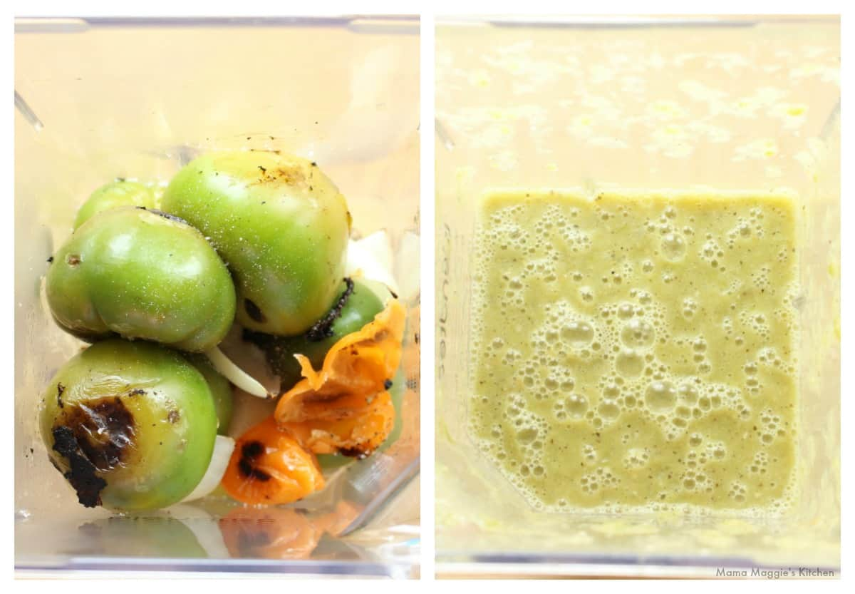 A collage showing how to blend the ingredients of a Tomatillo Habanero Salsa.