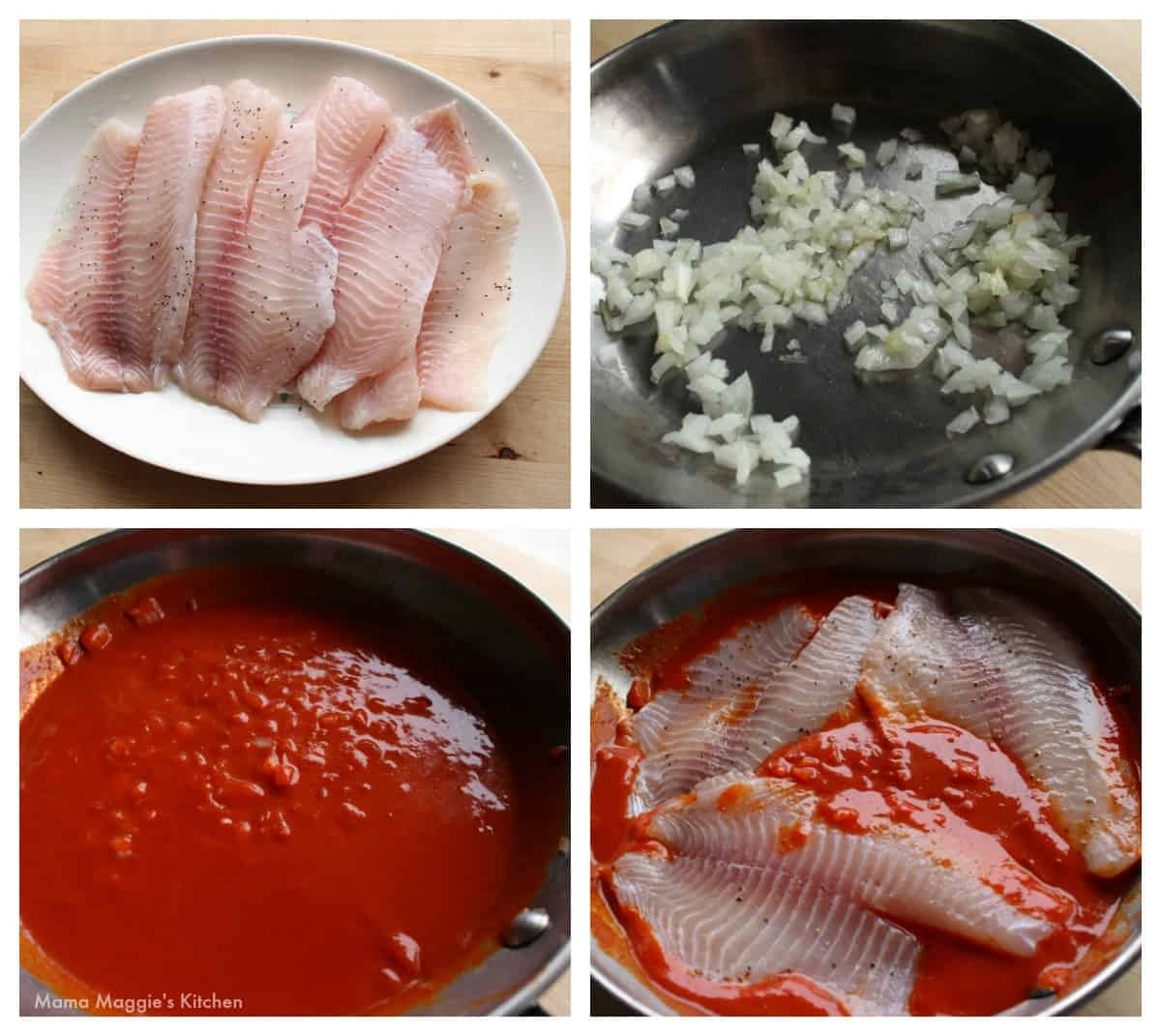 A collage showing how to cook Deviled Fish.