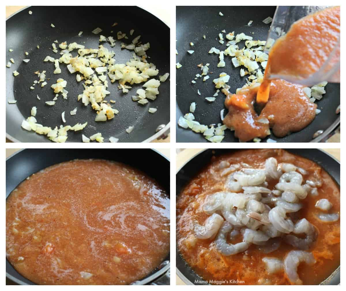 A collage showing how to make shrimp in chipotle sauce.