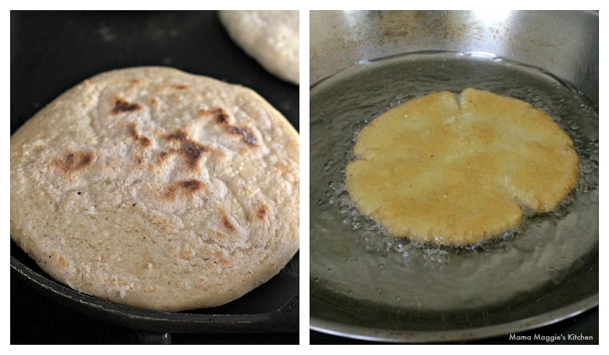 Two pictures side by side showing the different methods of how to cook gorditas.