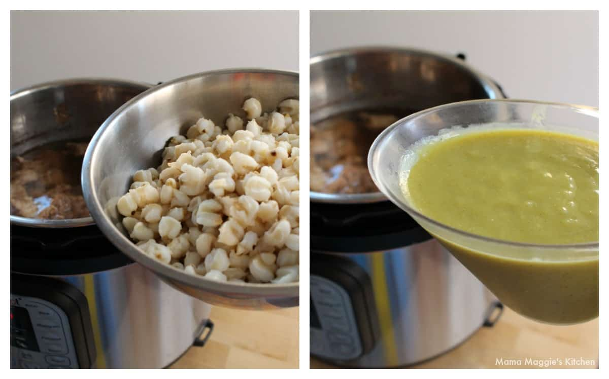 A collage showing how to add the hominy and the salsa verde.