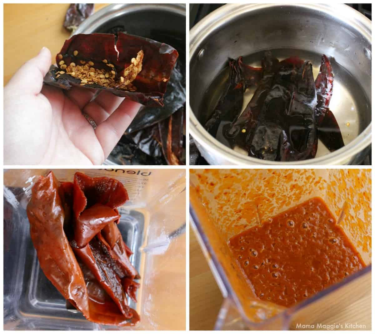 A collage showing how to make Diabla Sauce.