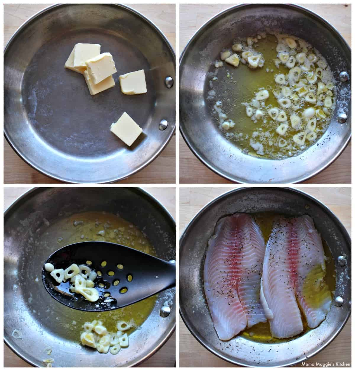 A collage showing how to make Pescado al Ajillo in a skillet.