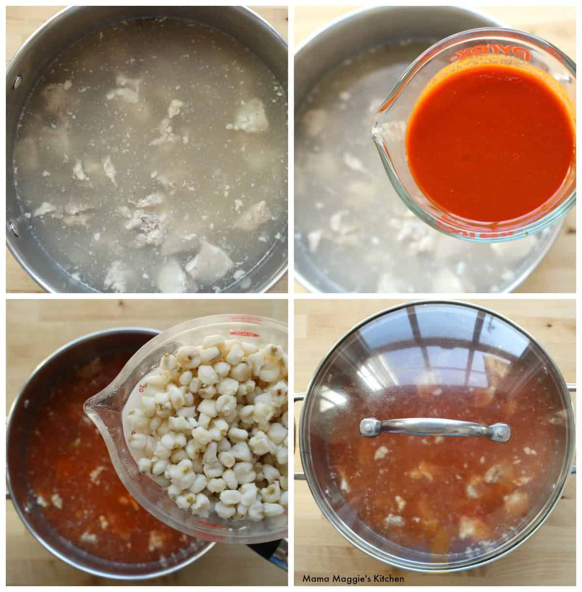 A collage showing how to make Pozole Rojo.