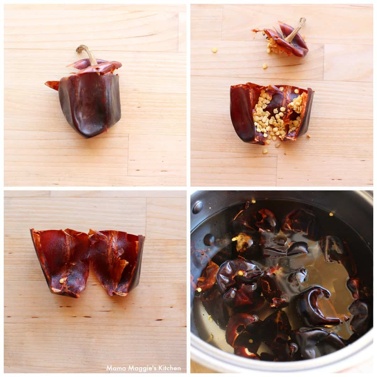 A collage showing how to rehydrate cascabel chile.