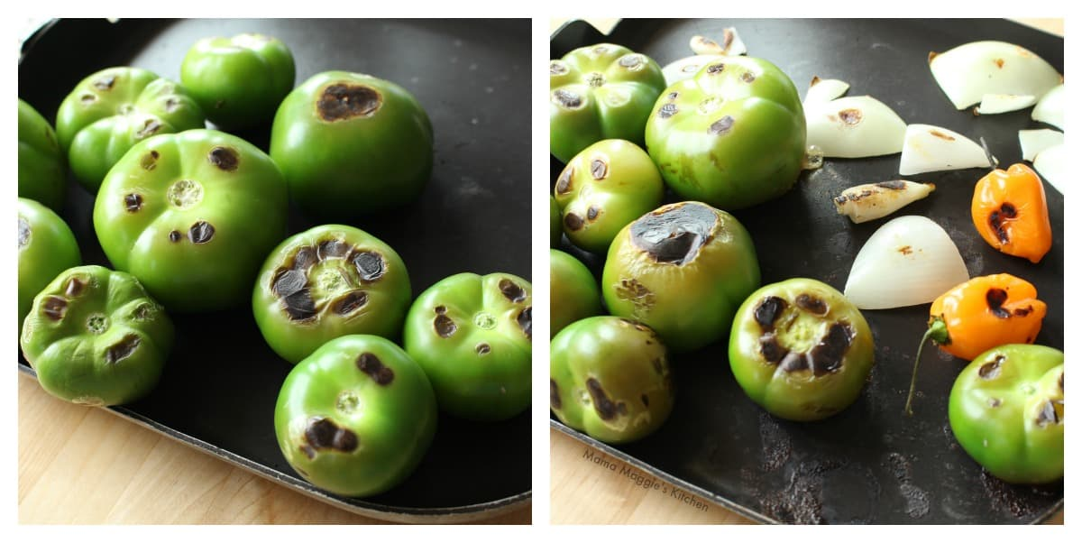 A collage showing how to roast the ingredients needed to make Tomatillo Habanero Salsa.