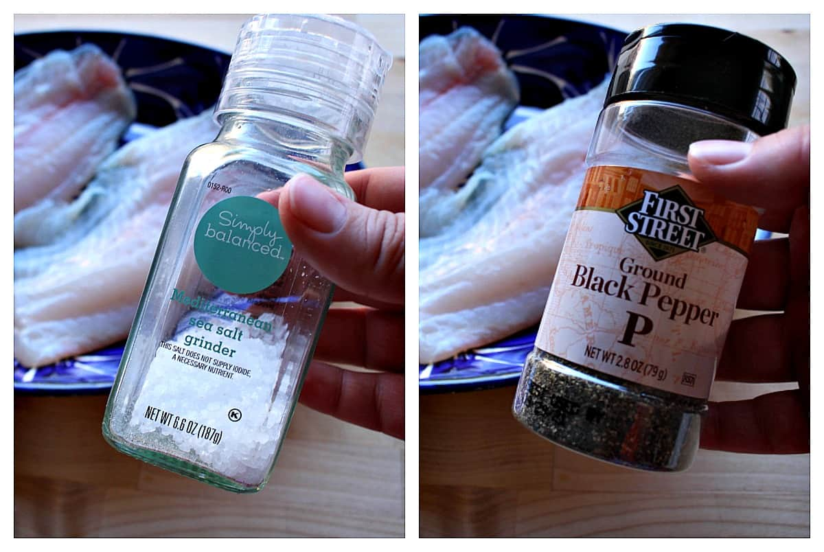 A collage showing salt and pepper next to fish filets.