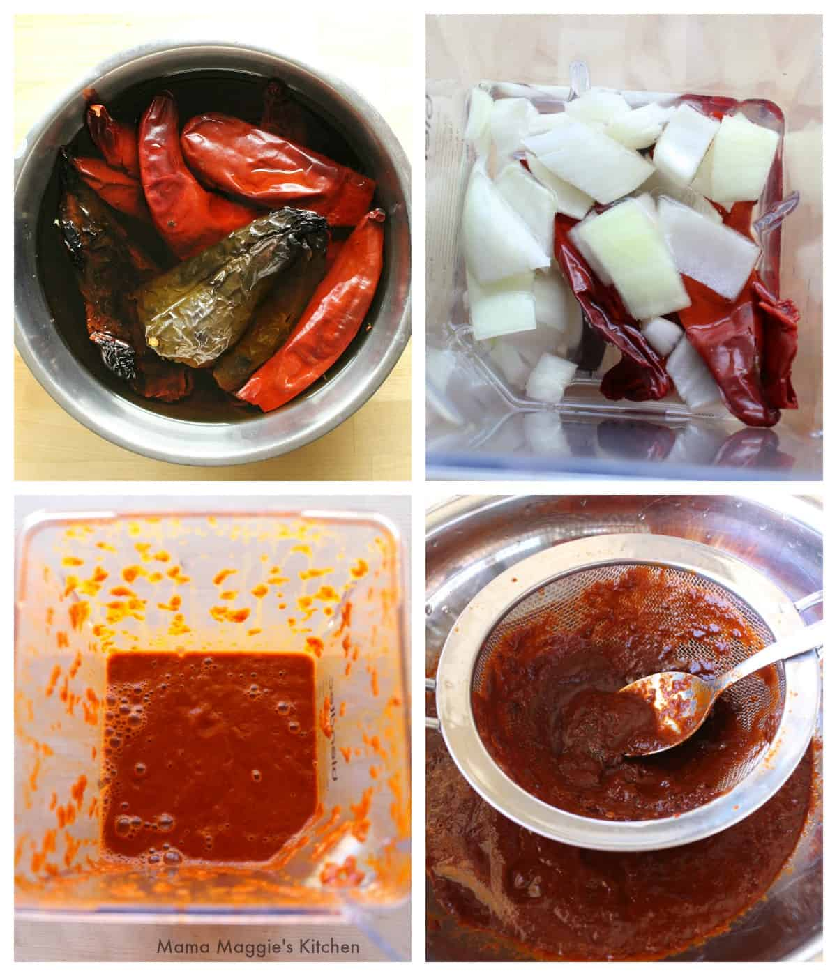 A collage showing how to make the sauce for Pozole Rojo.