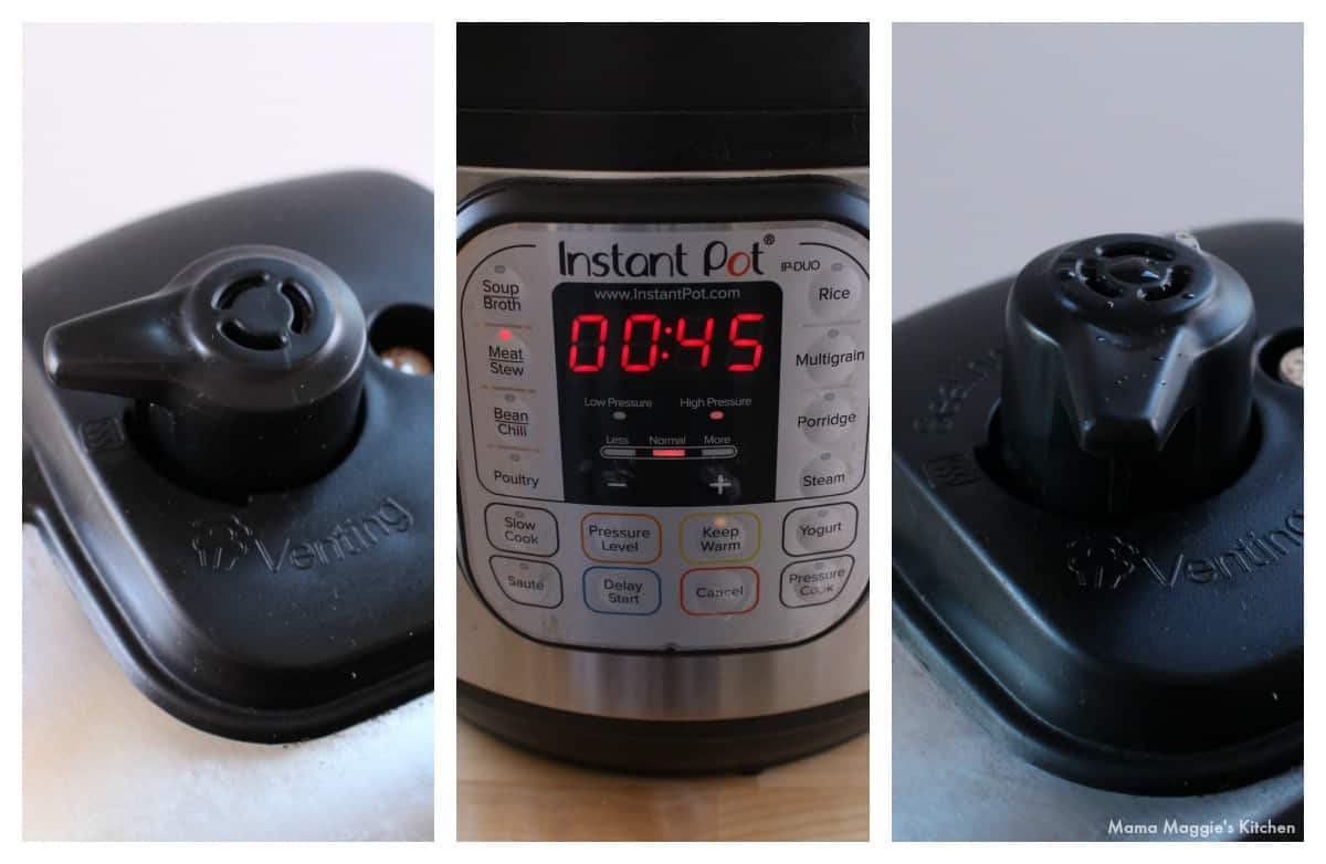 A collage showing how to seal the vent and set the timer on the instant pot.