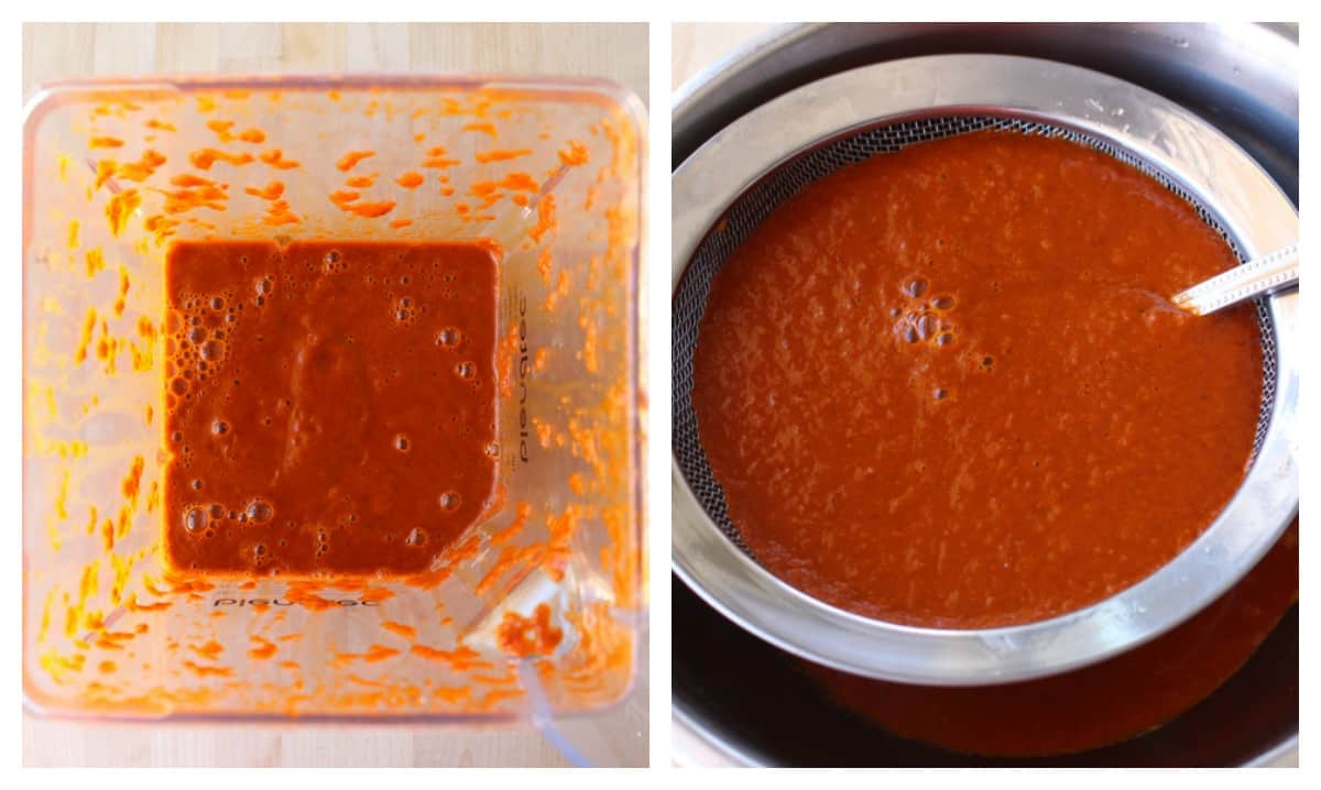 A collage showing how to strain the cascabel salsa.
