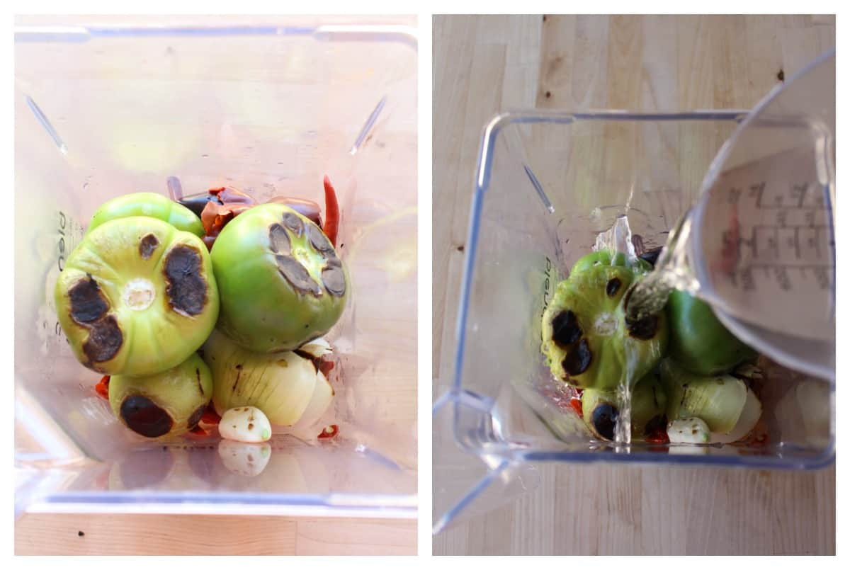A collage showing tomatillos and cascabel chiles in a blender.