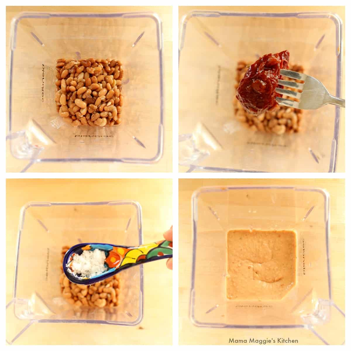 A collage showing how to make the bean mixture in the blender.