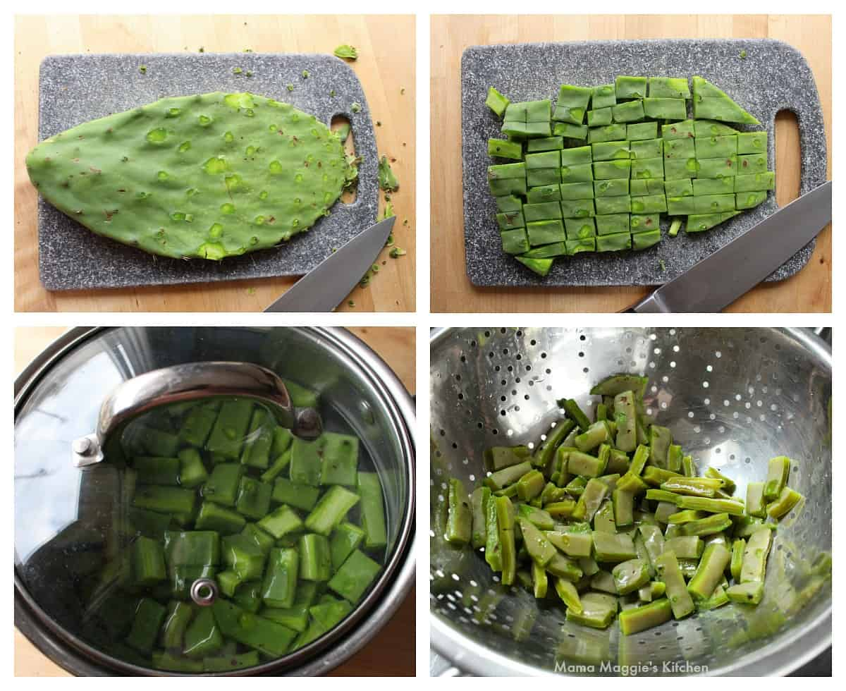 A collage showing how to dice and cook cactus paddles.