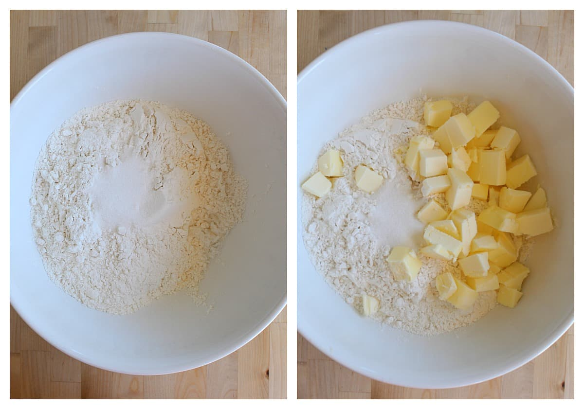 The dry ingredients for the empanada dough mixing with the butter in a large bowl.