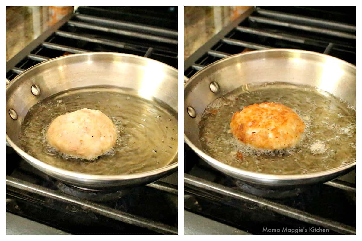 A collage showing how to fry the Tuna Potato patties.