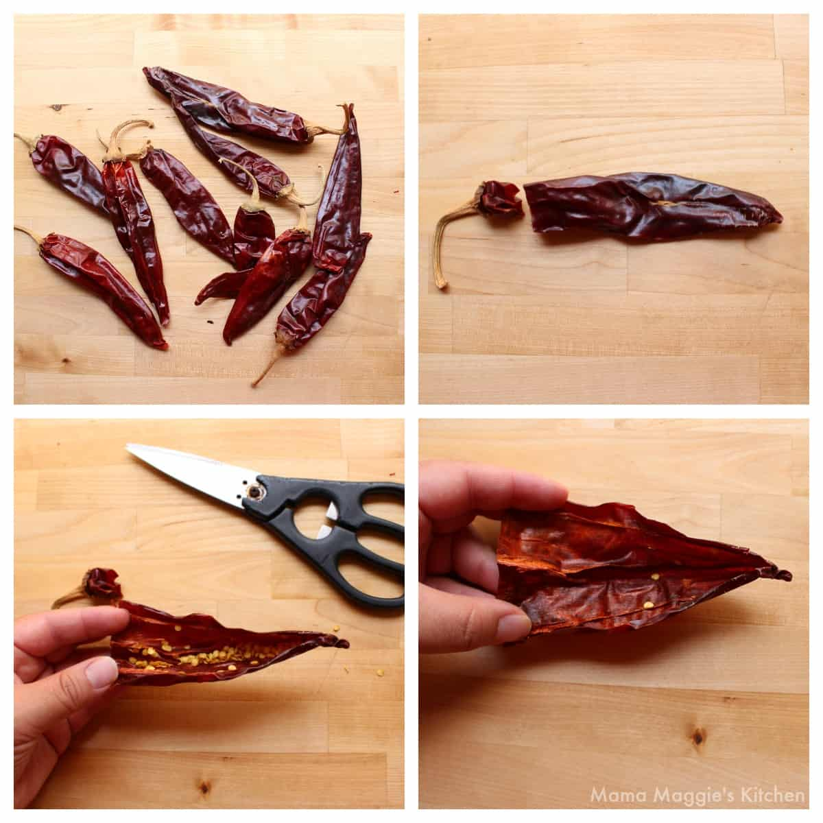 A collage showing how to remove the seeds and veins from dried guajillo chile.
