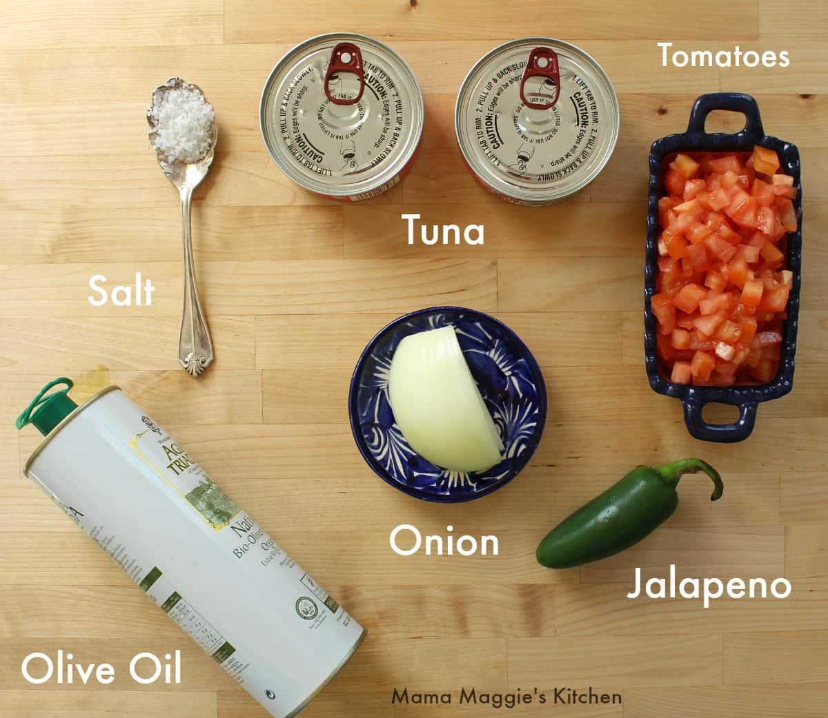 Ingredients for Mexican-Style Tuna on a wooden surface.