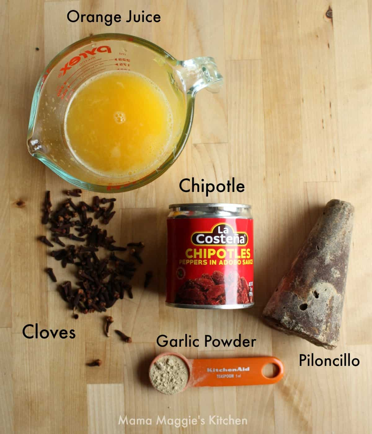 The ingredients for the Piloncillo Chipotle Glaze.
