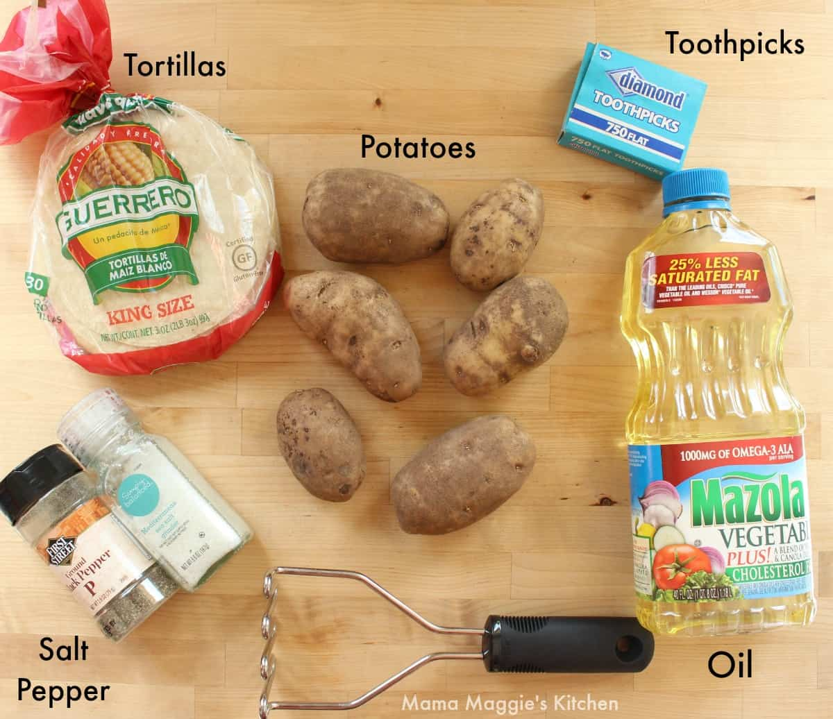 Ingredients for tacos dorados on a wooden surface.