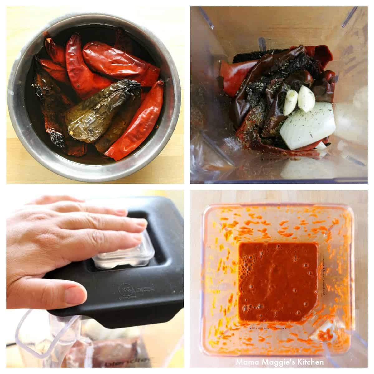 A collage showing how to rehydrate chiles and convert them into the chile colorado sauce.