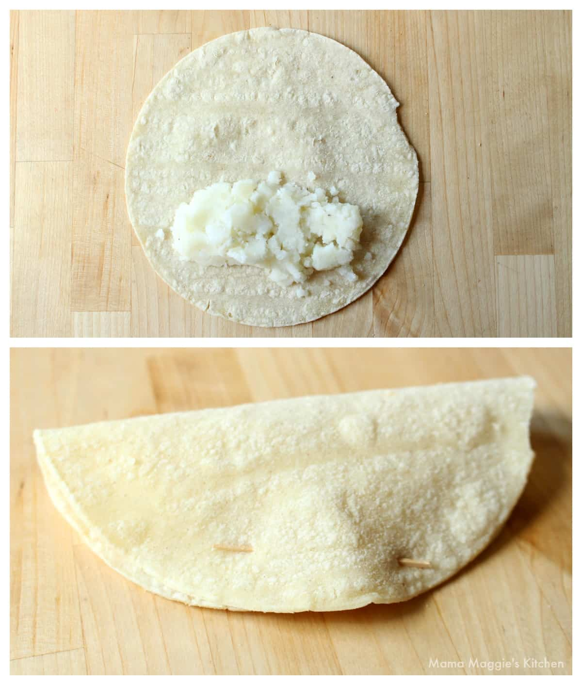 A collage showing how to assemble the tacos dorados.