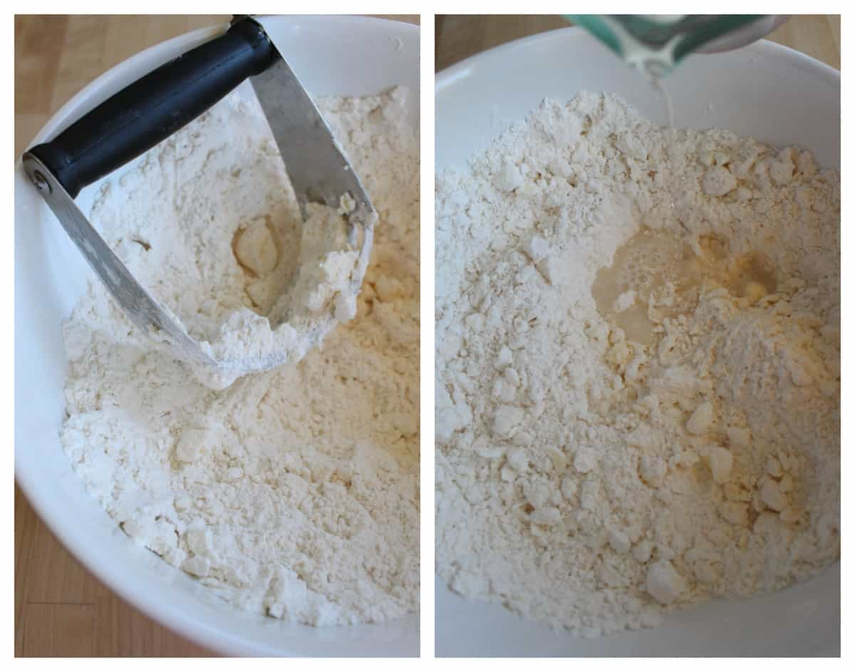 A collage showing how to mix the flour for the empanada dough.