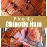 Piloncillo Chipotle Ham collage showing the slices after it has been cooked.