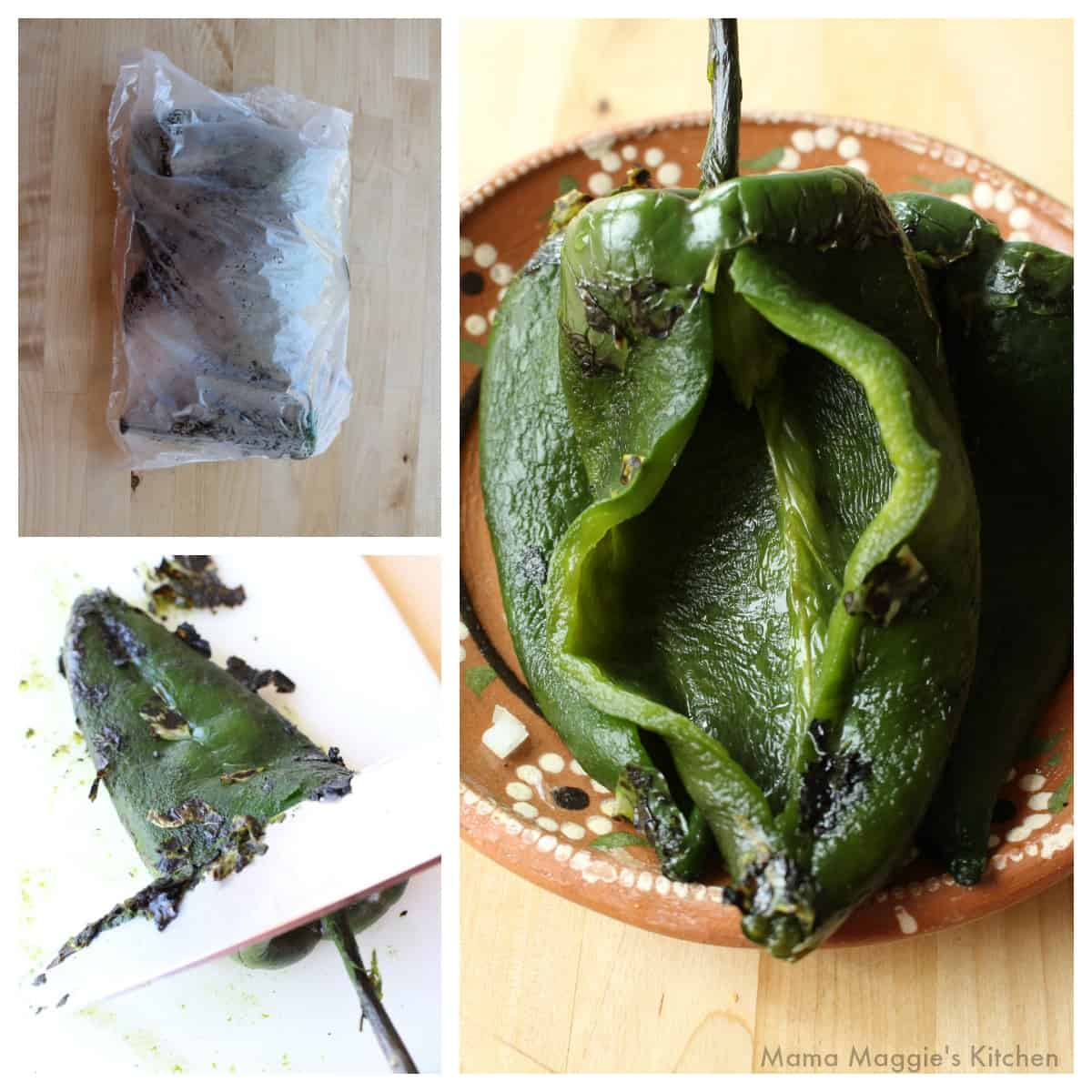 A collage showing how to steam, peel, and remove the seeds from a poblano pepper.