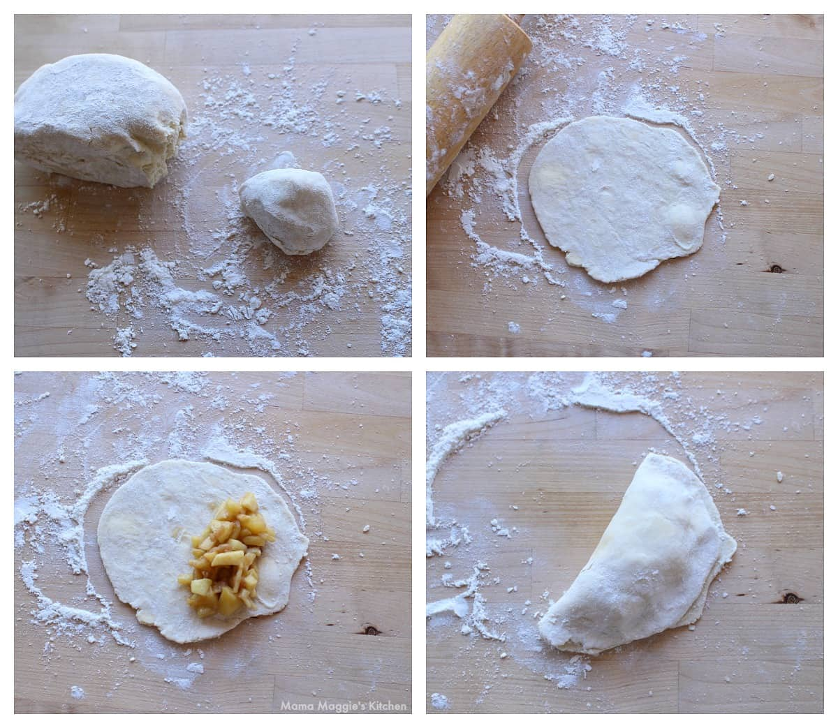 A collage showing how to roll out the dough for empanadas.