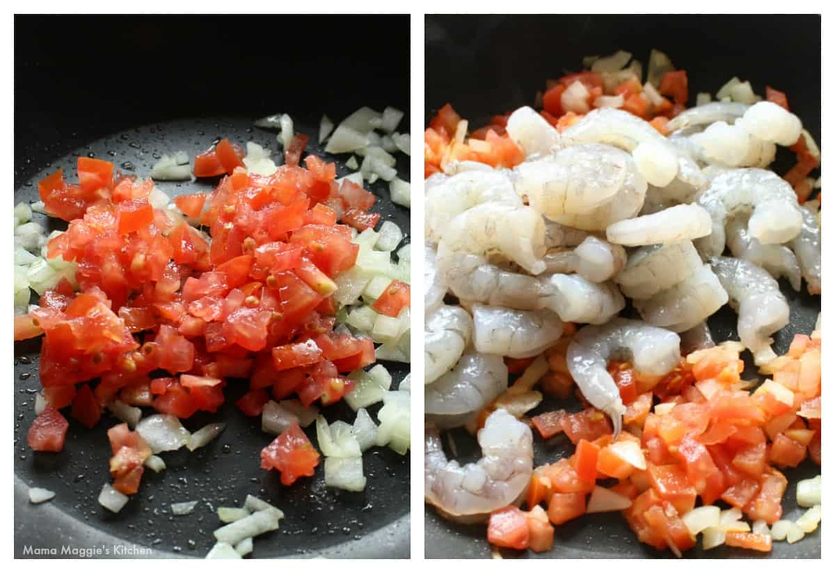 A collage showing how to cook the tomato and shrimp filling.