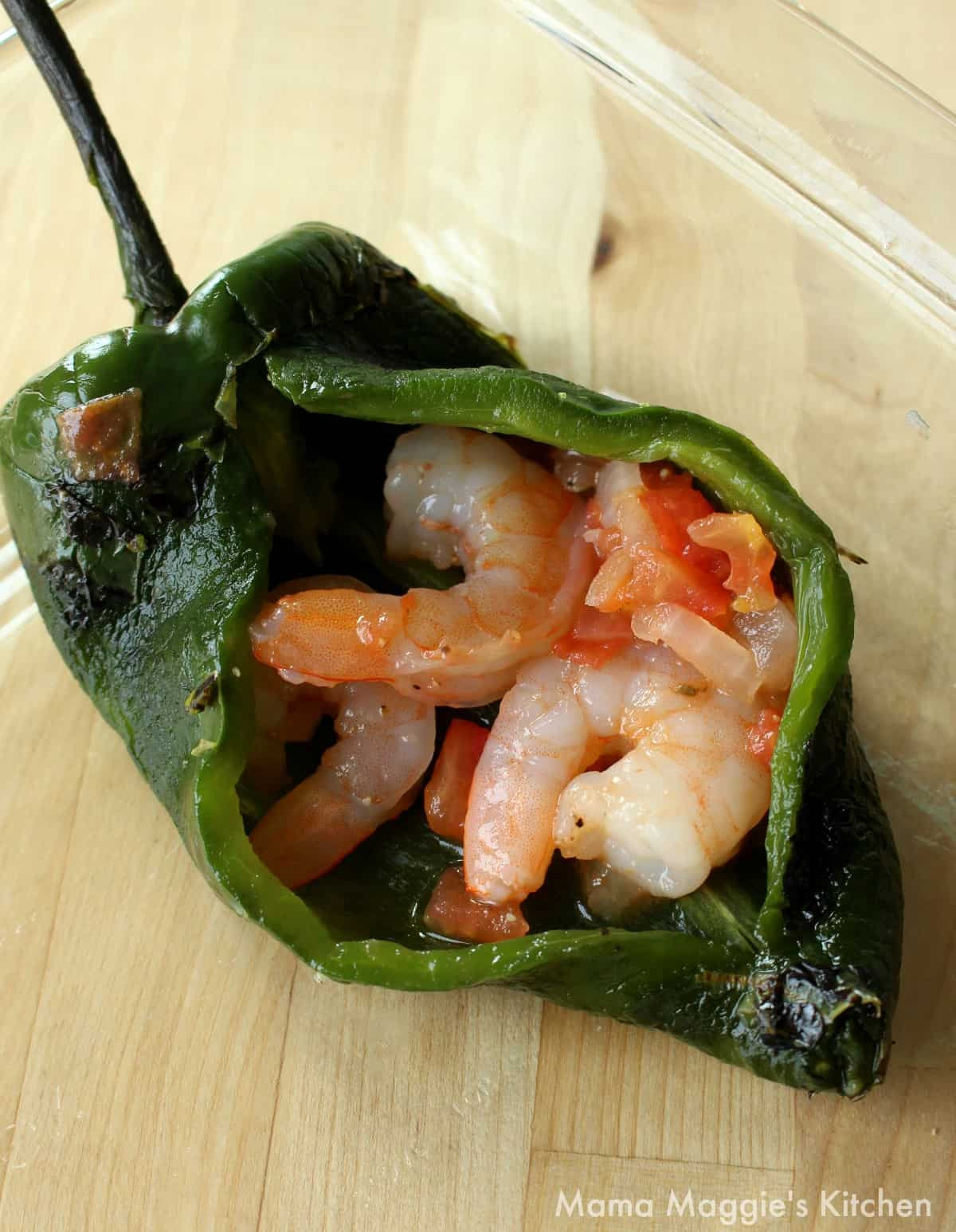 A stuffed poblano filled with the shrimp mixture.