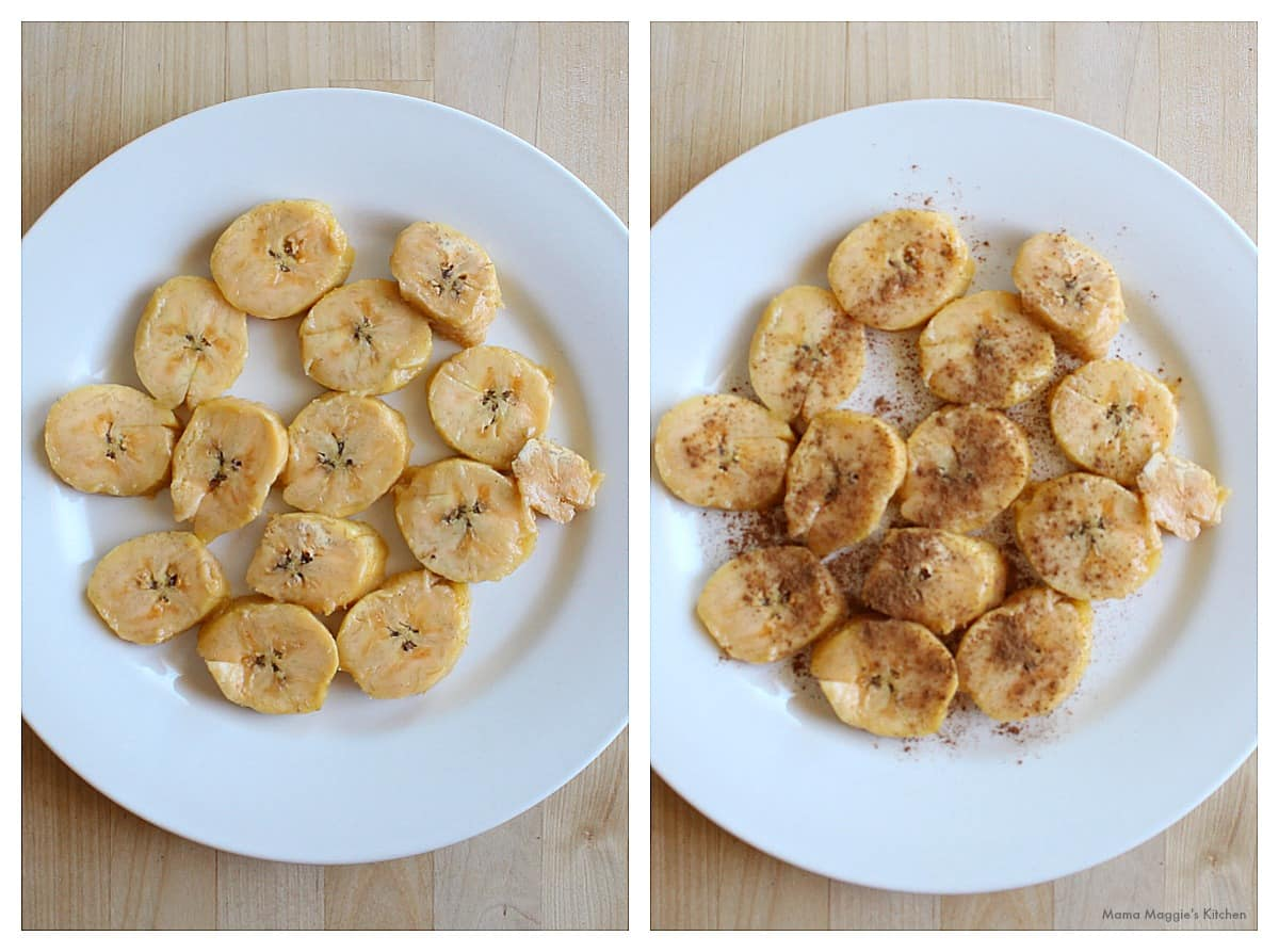 A collage of pictures showing sliced plantains sprinkled with cinnamon.