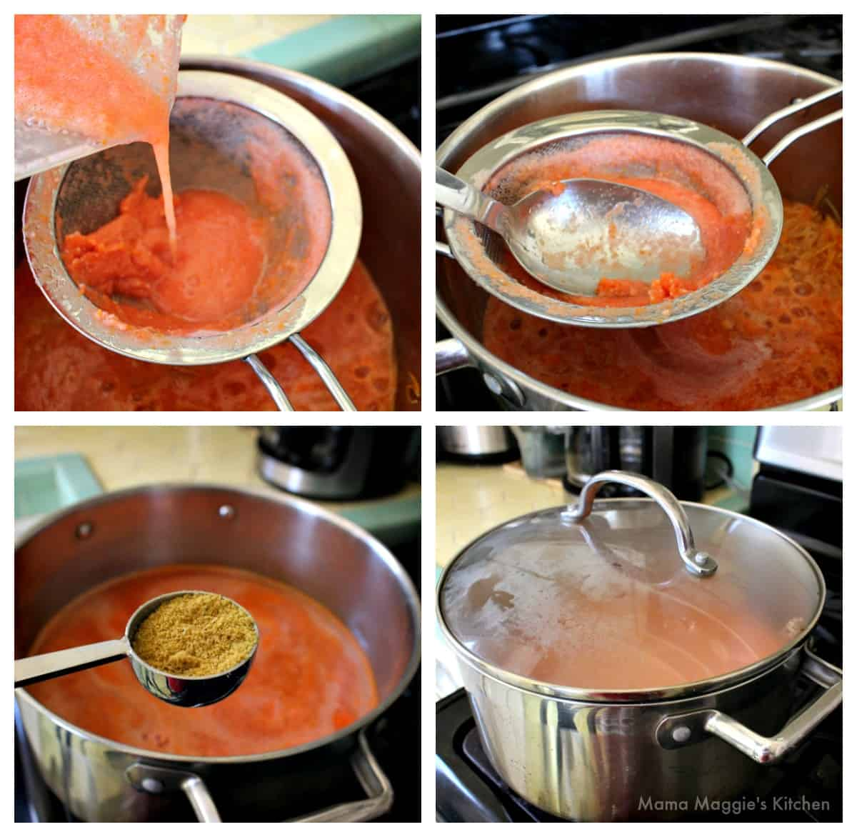 A collage showing how to add the tomato sauce to the stock pot.