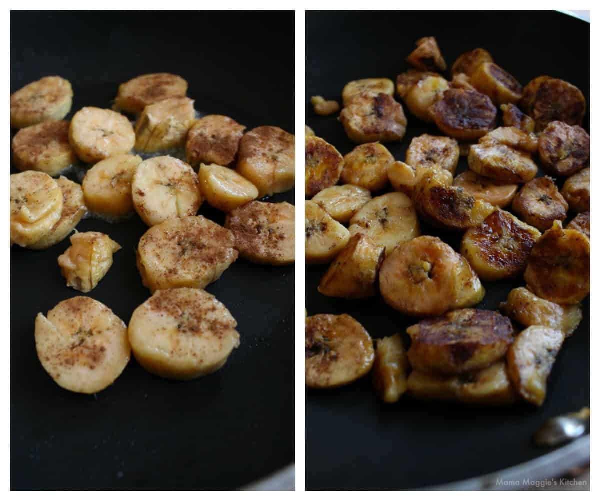 A collage showing how to fry the plantains in a skillet.