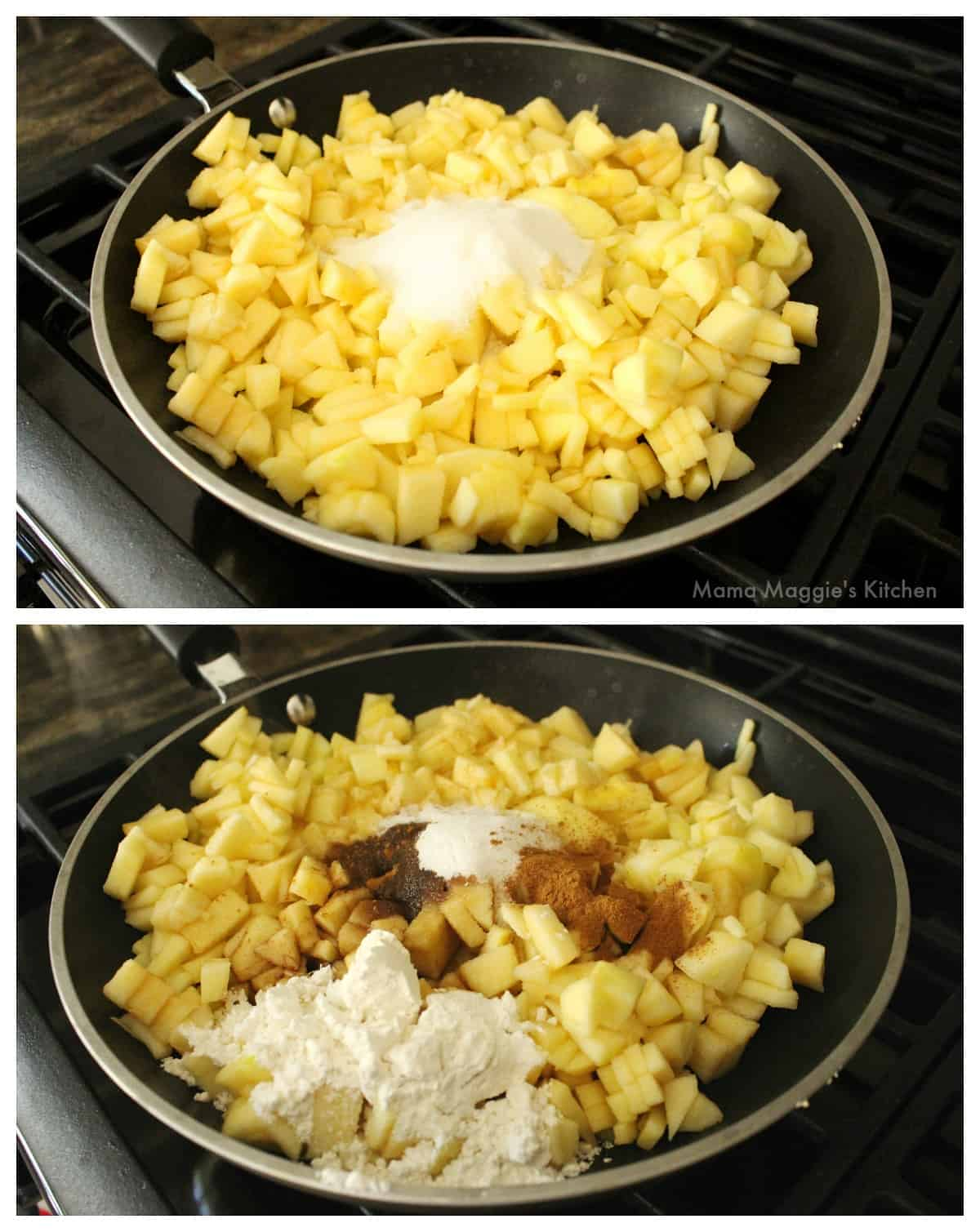 Two picture showing how to make the apple filling.