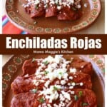 A decorative collage showing enchiladas rojas served and topped with cheese and cilantro.
