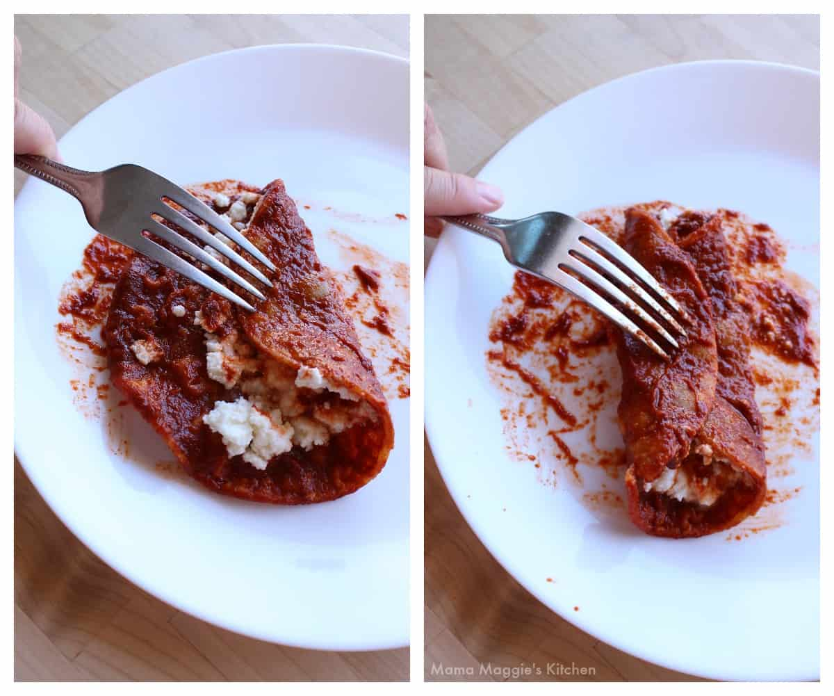 A collage showing how to assemble and fold an enchilada.