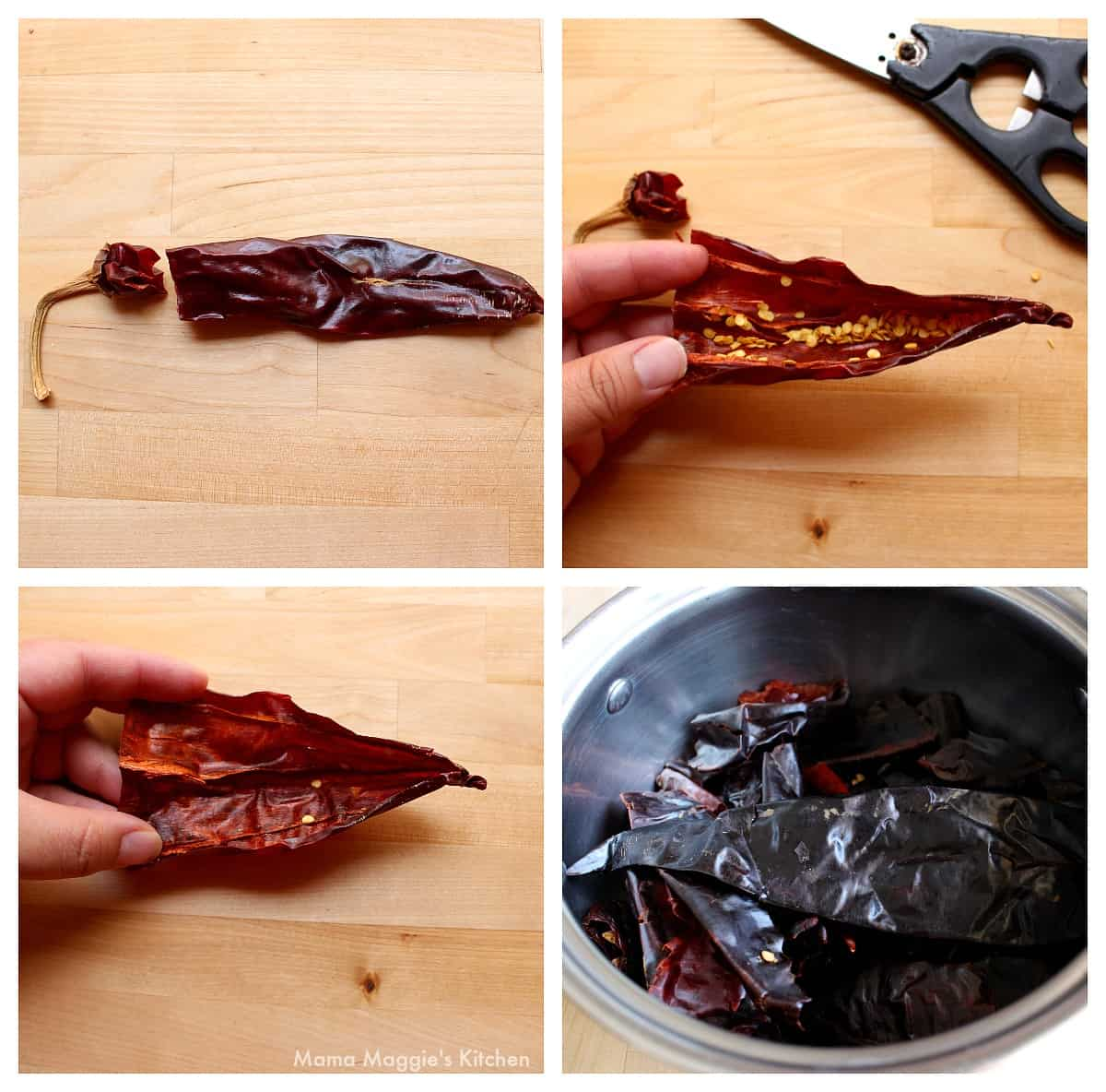 A collage showing how to devein and remove the seeds from guajillo chile.