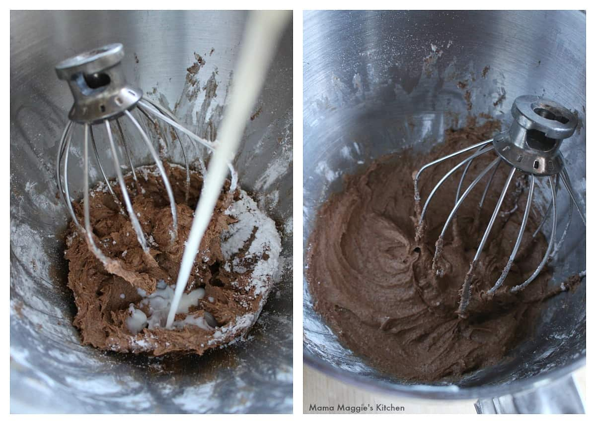 A picture showing milk added to the chocolate frosting inside a mixer with the attachment.