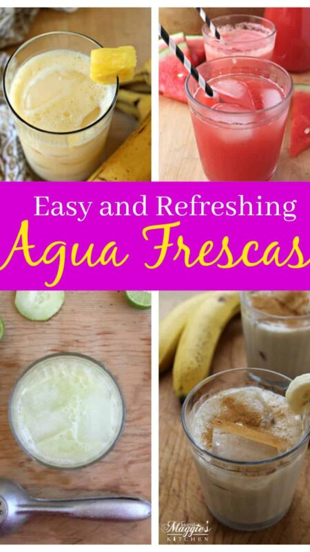 A collage of agua frescas.