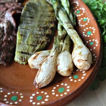 Cebollitas Asadas served on a clay plate next to grilled cactus and carne asada.
