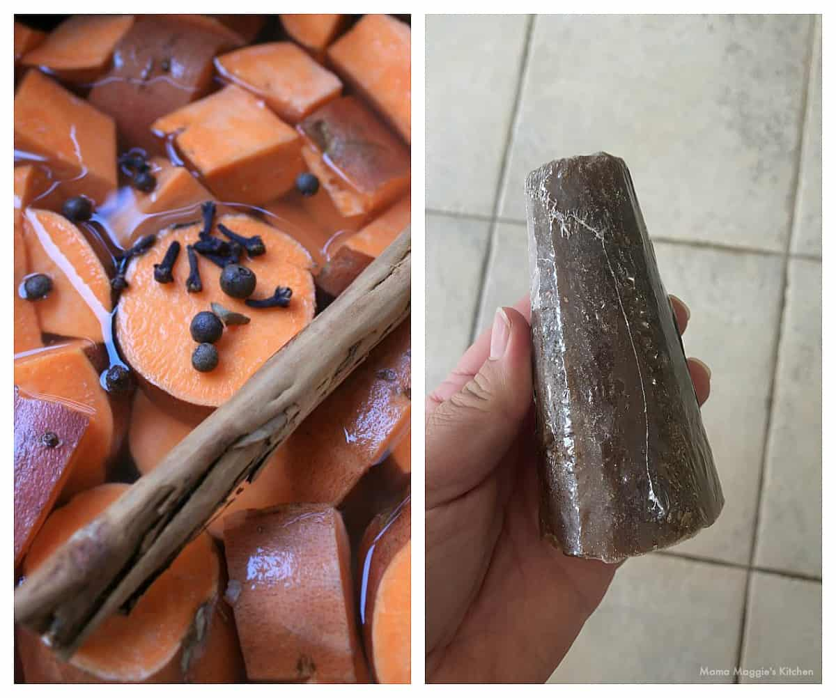 A collage showing sweet potatoes cooking and a hand holding a piloncillo cone.