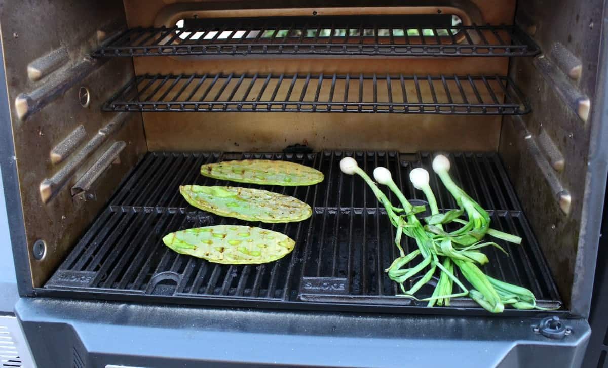 Cactus and spring onions grilling on a grill.