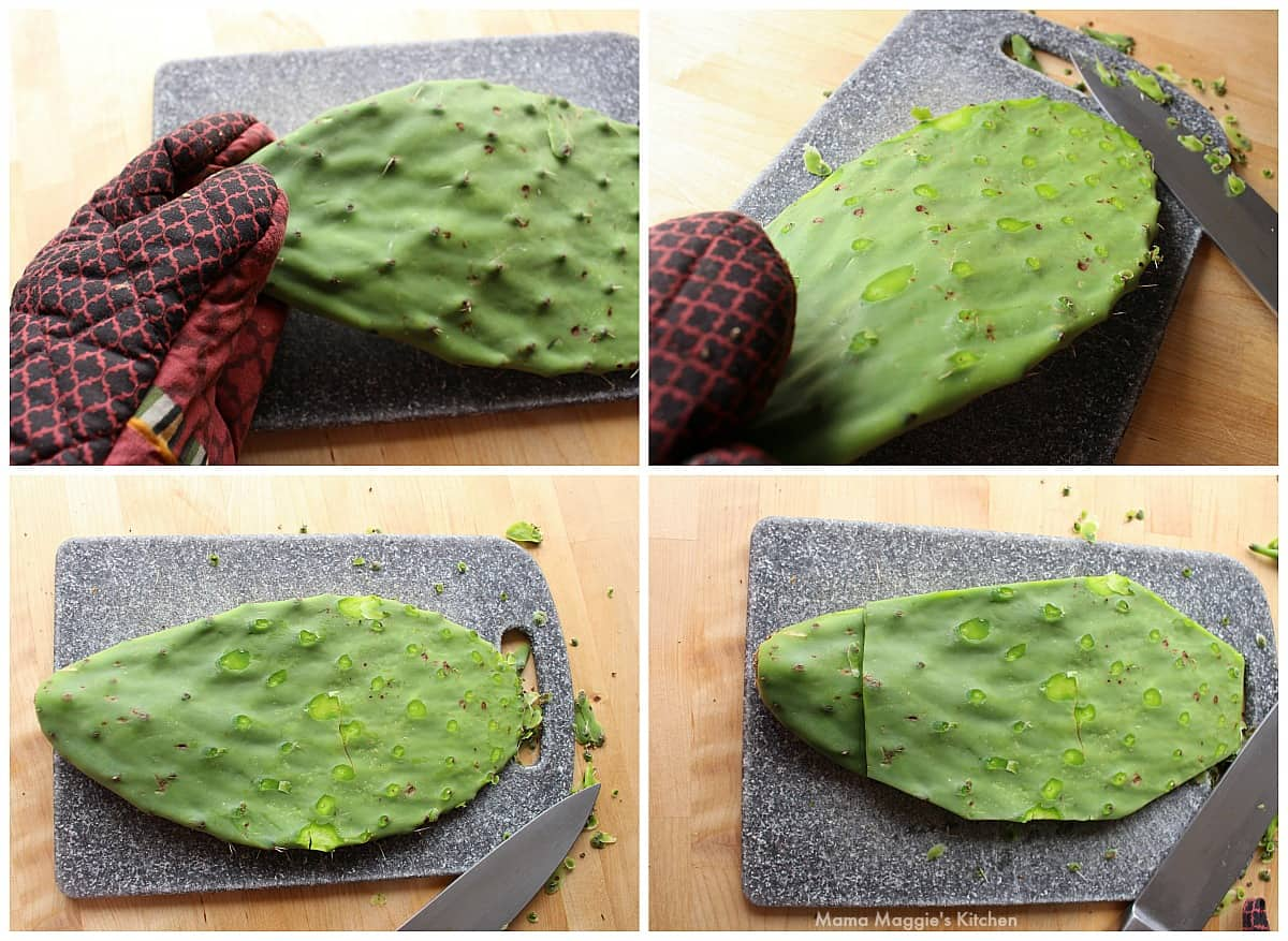 A collage showing how to clean and remove the thorns from cactus paddles.