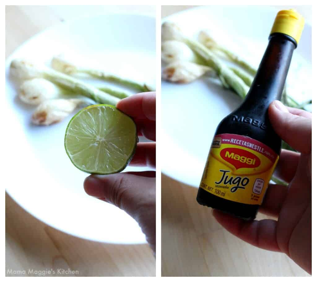 A collage showing lime and Maggi Jugo over the grilled onions.