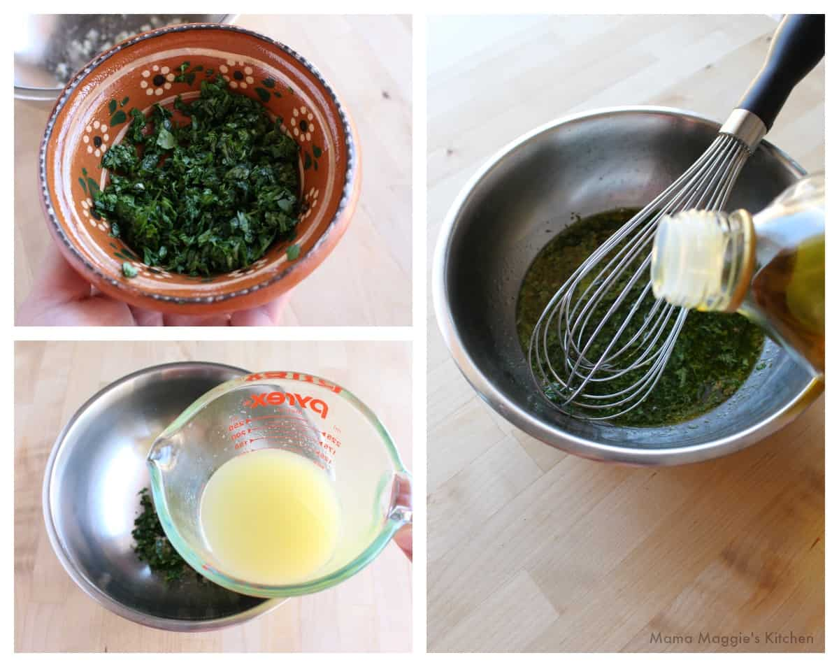 A collage showing how to add the olive oil to the ingredients for the marinade.