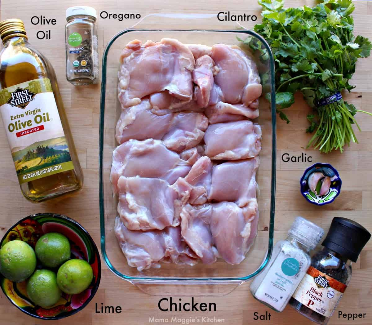 The ingredients needed to make the recipe labeled and on a wooden surface.