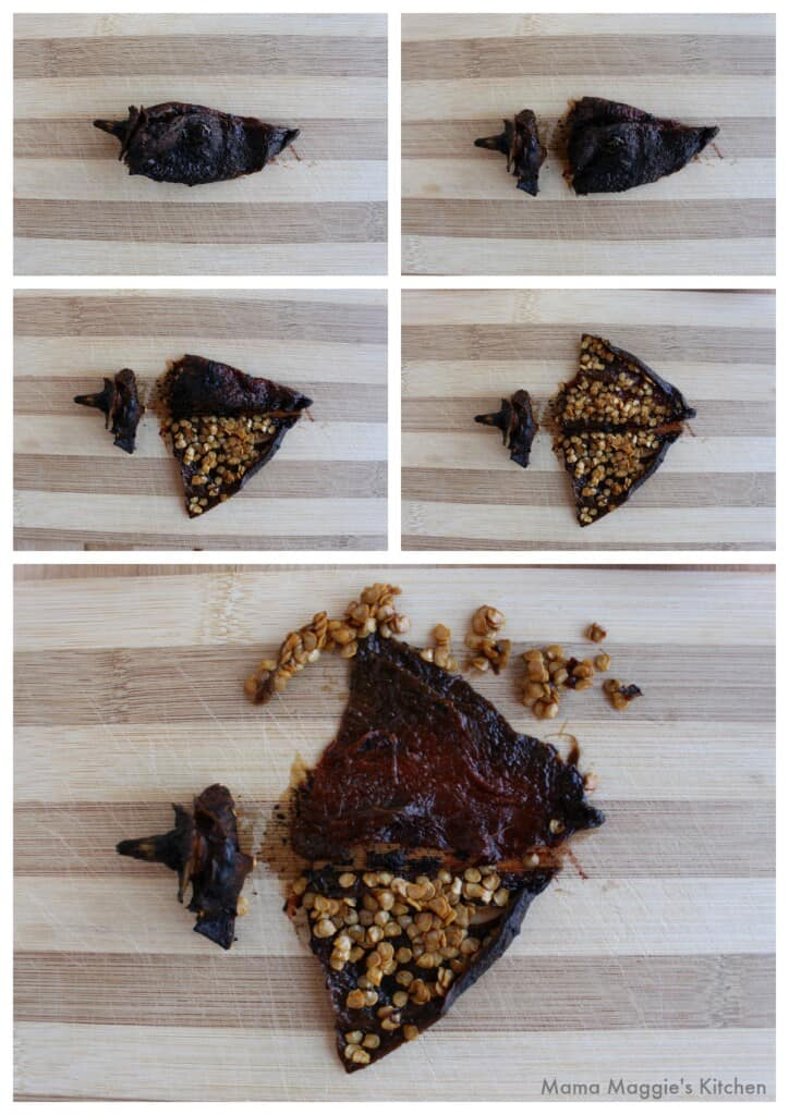 A collage showing how to remove the seeds of a rehydrated chile pasado.