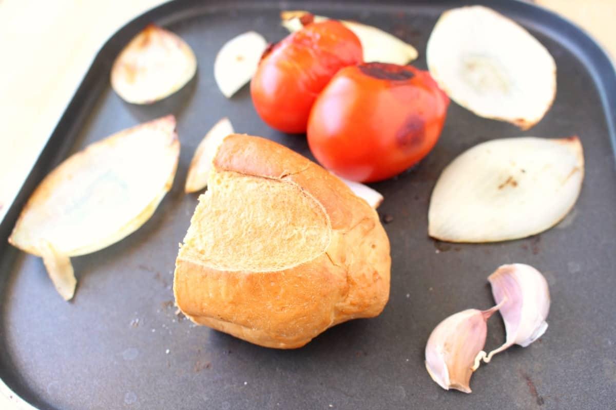 Ingredients roasting on a skillet.