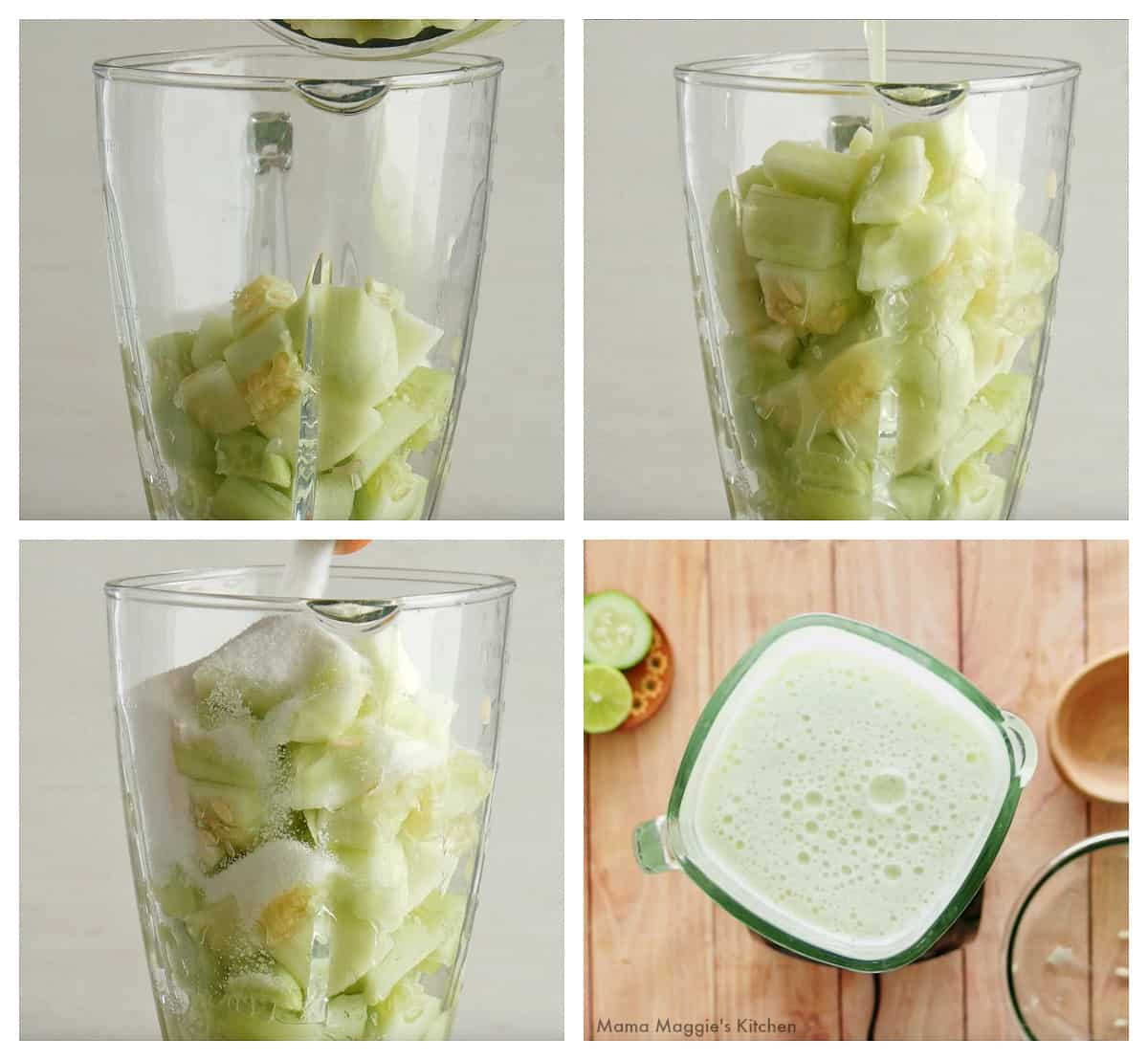 A collage showing how to make cucumber lime agua fresca in a blender.